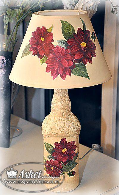 LAMPA Z BUTELKI - Decoupage