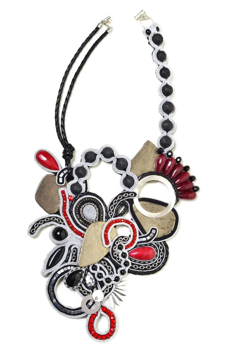 statement necklace handmade rock and roll bohemian jewelry soutache jewelry long beaded necklace Red Black Silver Festival gift women by SixVintageChicks on Etsy