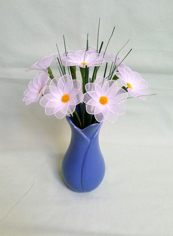 Daisy bloemenvaas handgemaakte daisy, handgemaakte daisy boeket, witte margriet, nylon bloemen, unieke cadeau idee, unieke habdmade bloemen