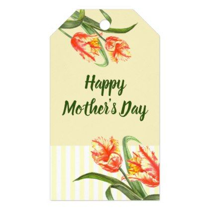 #Watercolor Yellow Parrot Tulip Floral Mpther's Day Gift Tags - #mom #mum #mother #wife #mothersday #gift #bestmom