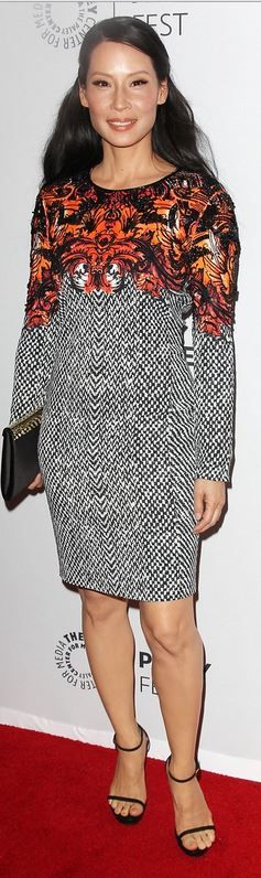 Who made  Lucy Liu's gray print dress and ankle strap sandals that she wore in New York on October 5, 2013?