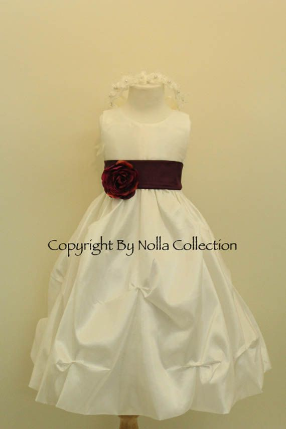 Flower Girl Dresses IVORY with Purple Plum by ...