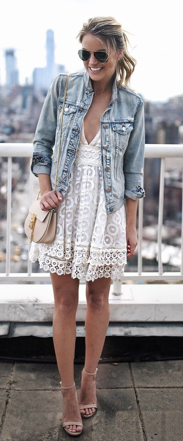 #spring #fashion  Denim Jacket & White Lace Dress & Nude Sandals