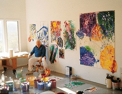 Abstract Expressionist artist, Sam Francis, Point Reyes Studio Station 1991