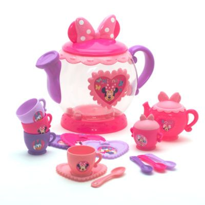 It's always time for tea with our fabulous Minnie Mouse tea pot playset! It contains four cups, four heart-shaped saucers, spoons, sugar bowl and a tea pot, all with Minnie and Daisy Duck artwork.