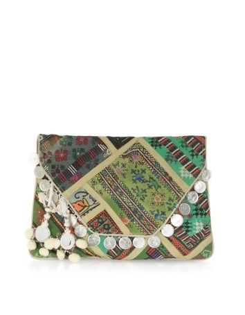 gorgeous envelope clutch with pom poms, mirrors, embroidery, the works!