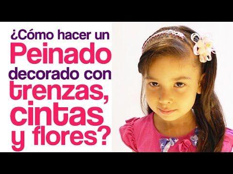 Peinados fáciles para niña | Trenza adornada con cintas y flores - hairstyles for girls - YouTube