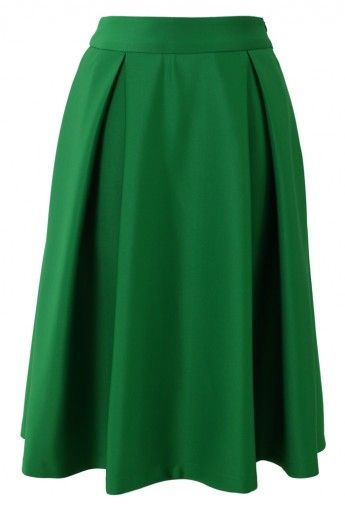 Full A-line Midi Skirt in Green - Retro, Indie and Unique Fashion