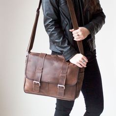 Distressed Leather Everyday Messenger Bag from Calvin Mitchell Co.