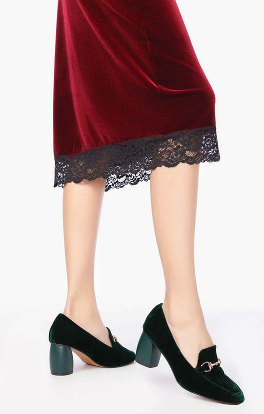 Бархатные туфли изумрудного цвета с широким каблуком Lera Nena 183701, купить за 6990 руб в интернет-магазине TopTop.ru