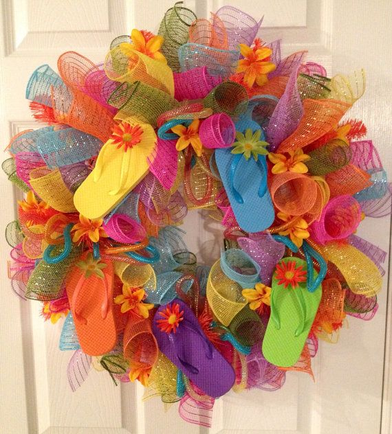 Flip Flop deco mesh wreath on Etsy, $58.00