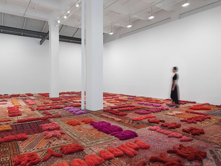 in tianmiao weaves words about women into a carpet landscape at galerie lelong
