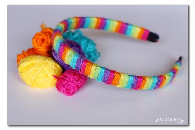 yarn wrapped macrame headband