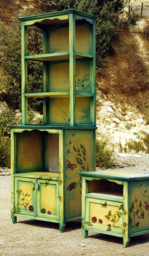 Hand Painted Cabinet   By Menahem U0026 Mary Lavee