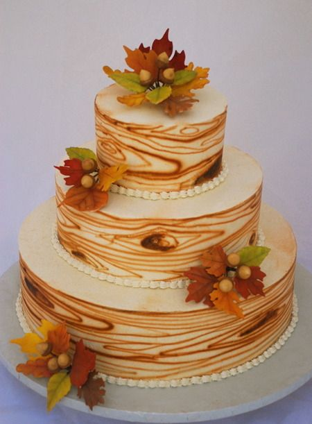 Wood grain fall leaves autumn cake - 3 Tier Italian Meringue Buttercream Wedding Cake. Description from pinterest.com. I searched for this on bing.com/images