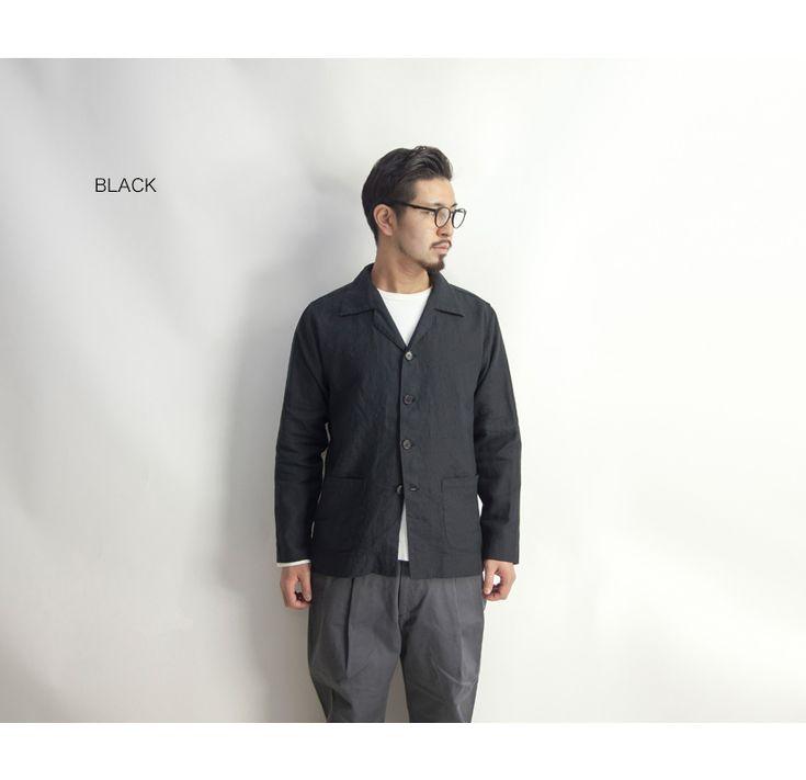 UpscapeAudienceハードマンズリネン麻100%開襟ジャケット日本製メンズ
