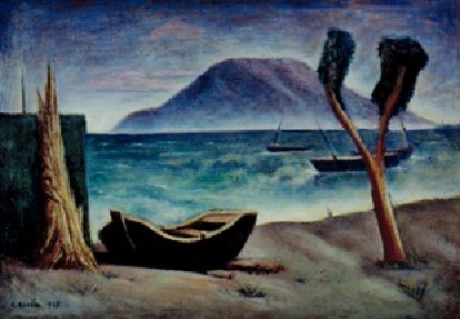 Carlo Carrà 1881-1966 Marina con Albero