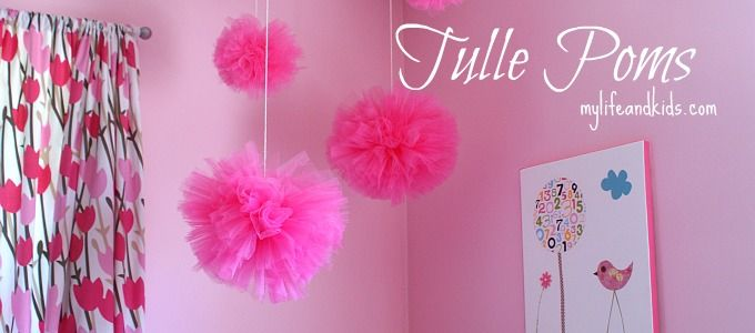 tulle pom poms: Kid Bedrooms, Girl S Rooms, Craft Gift Ideas, Girls Room, Poms Tutorial Rectangle, Party Theme Ideas, Diy Girls, Kids Rooms