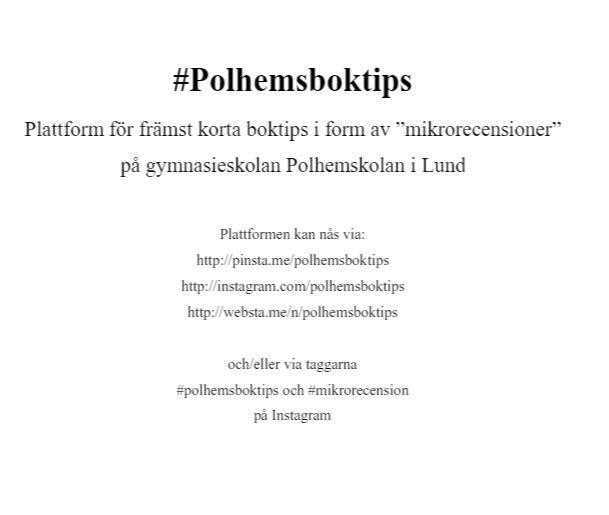 Ser tillbaka på #Polhemsboktips https://www.instagram.com/polhemsboktips/ . Rapport på https://simplebooklet.com/polhemsboktips #mikrorecension . Rapporten finns även på bitly_com/polhemsboktips. Se