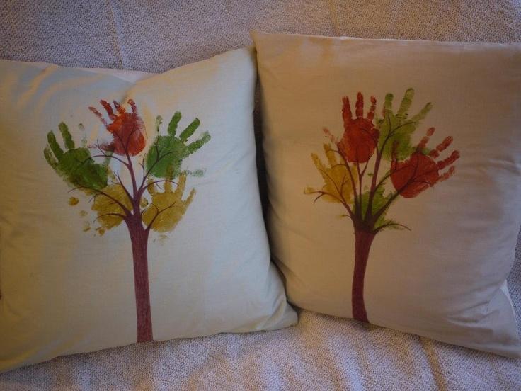 Hand print trees cushion