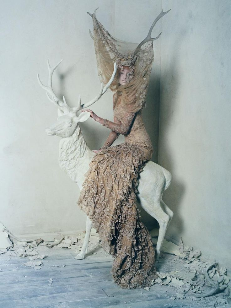 """Dark Angel"" photographed by Tim Walker for British Vogue, March 2015. A celebration of the work of Alexander McQueen, as the ""Savage Beauty"" retrospective of his work begins at the V & A Museum."