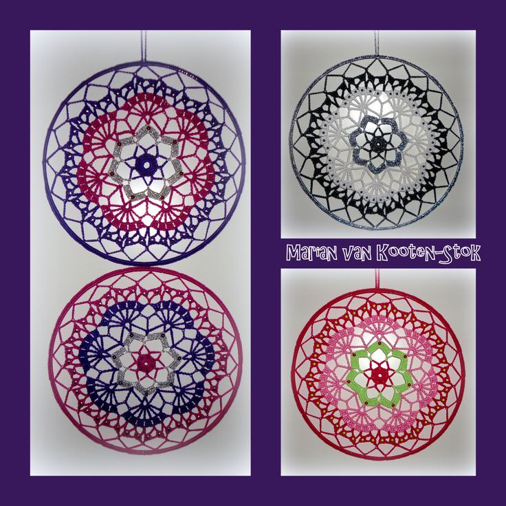 Crochet mandala or suncatcher, is a pattern from Neveda Specials nr. 24 ca. 1980. Here can you find the pattern http://www.pinterest.com/pin/126734176988332693/