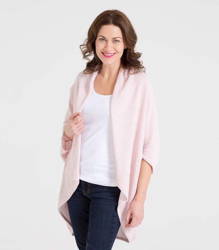 Womens Lightweight Linen Blend Rolled Edge Cardigan Pale Pink / Style Code: D10L #linen #cotton #cardigan