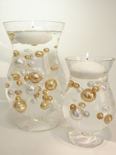 Unique Jumbo & Assorted Sizes 80 Pieces Gold and White Pearls Value Pack Vase Fillers.... The Transparent Water Gels that are floating the Pearls are sold separately.... Vase Pearlfection,http://smile.amazon.com/dp/B00CLCYBC8/ref=cm_sw_r_pi_dp_S0kRsb0BQZ76MFGX