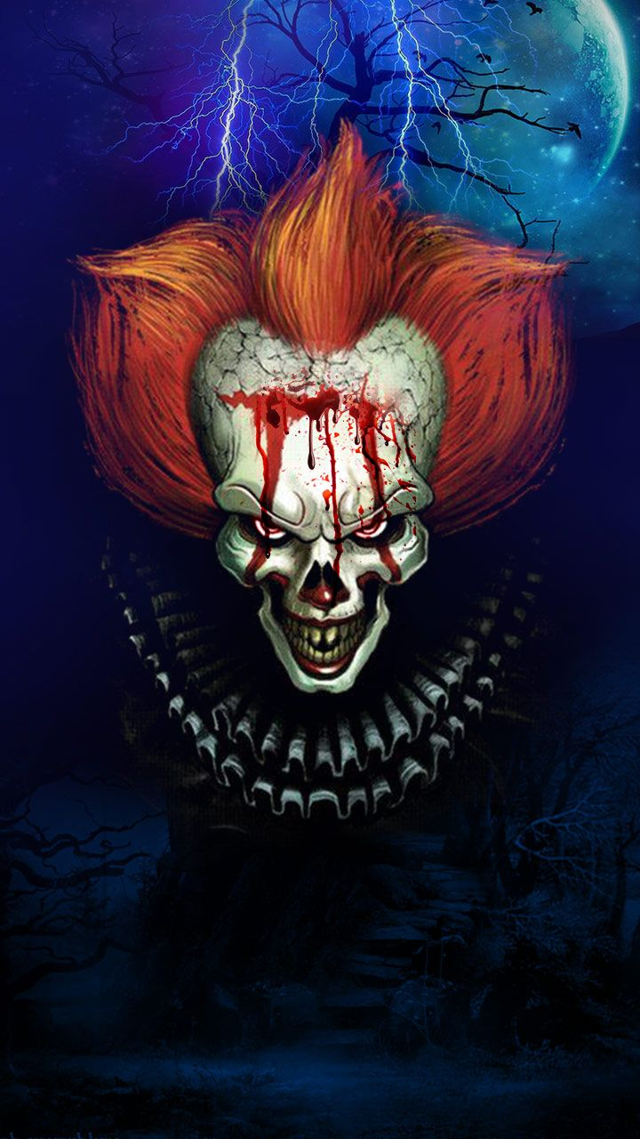 Scary clown, blood dripping creepy clown wallpaper