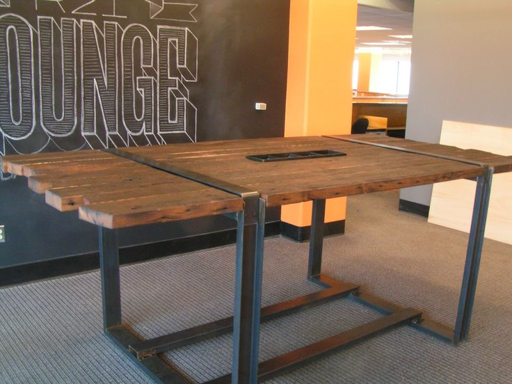 wood and metal desk