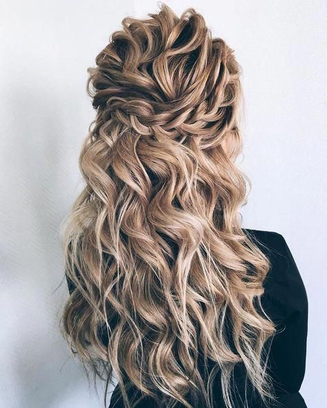 Partial updo bridal hairstyle  Half up half down wedding hairstyles #weddinghai #weddinghairstyles