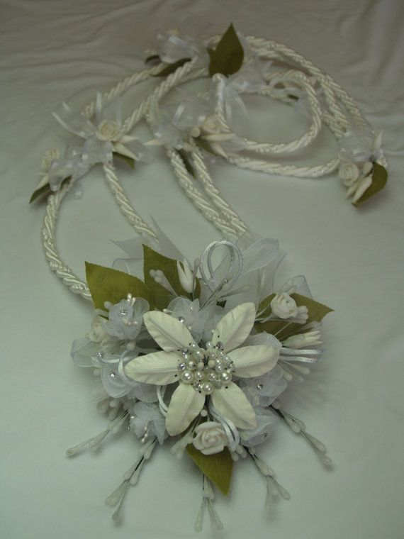 White Wedding Lasso Traditional Handmade Cord With Vintage Flowers Vowsandkisses