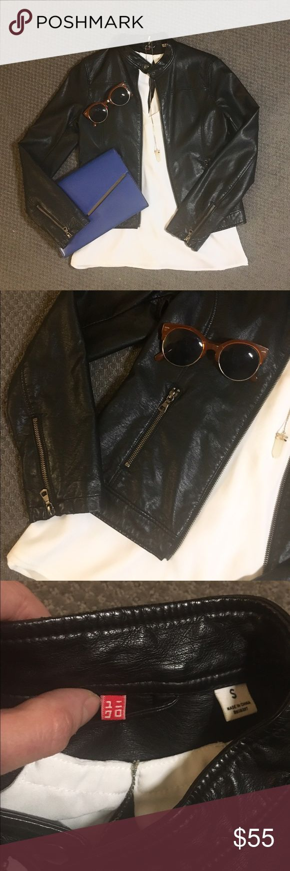 Black faux leather moto jacket  Black faux leather moto jacket - size small. Only worn 3-4 times. I seriously love this jacket!! Sorry I'm not familiar with the brand; bought it while living in Spain a couple years ago. Took a pic in case anyone recognizes the tag. Definitely paid upwards of $115 for it. Shell is imitation leather, lining is 100% polyester. Smoke-free home  Jackets & Coats