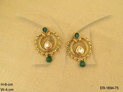ER-1694-75 || CHAND CRESCENT PAAN CENTER ANTIQUE EARRINGS