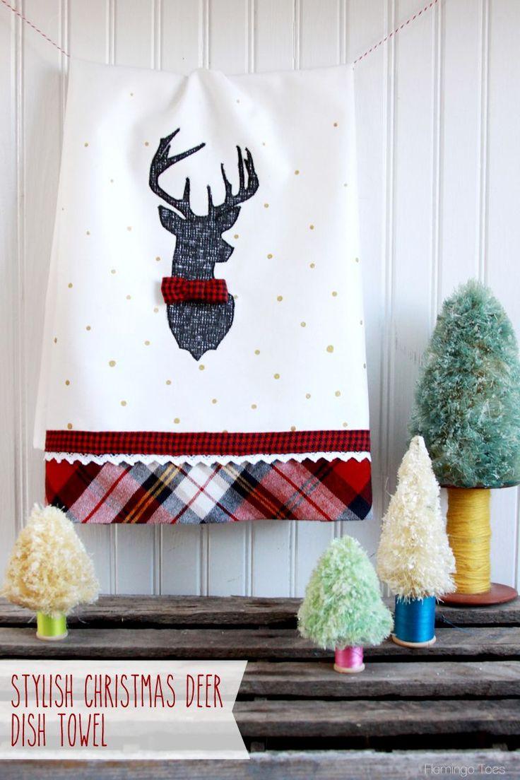 Stylish Christmas Deer Dish Towel