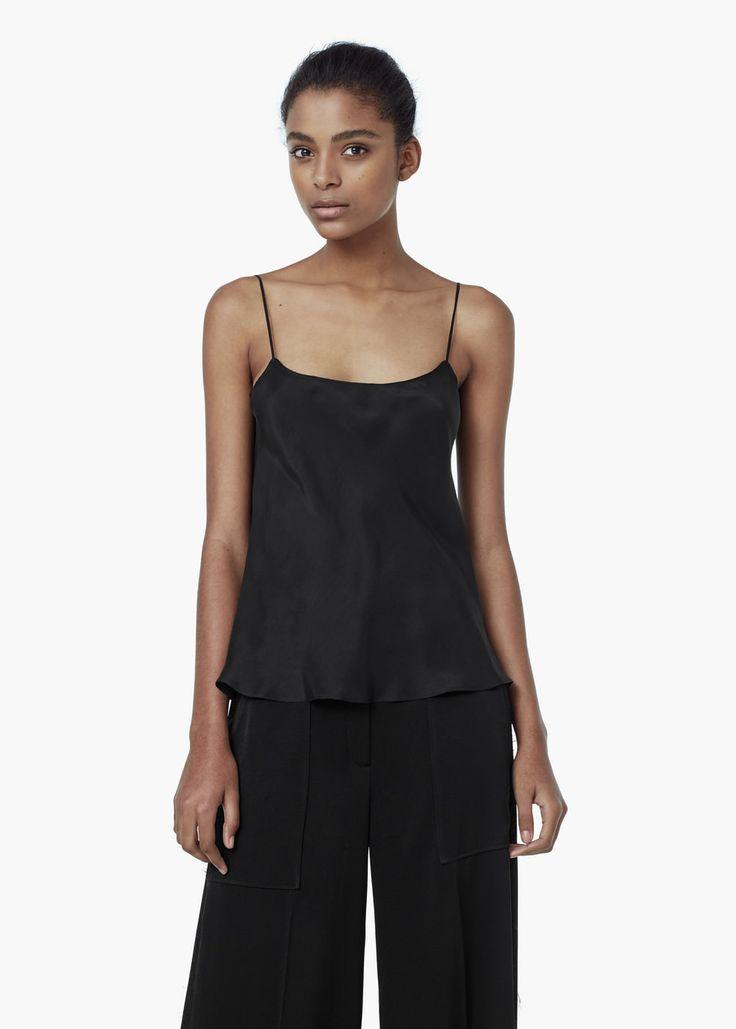 Premium - top à bretelles soie - Chemises pour Femme | MANGO