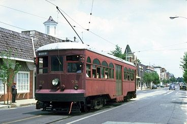 """Philadelphia Suburban Transportation Company Red Arrow Line - In marked contrast to modern trolleys like the Brilliners and Master Units described above, the Brill """"Center Door"""" car seen here was typical of suburban trolleys built around 1920. These tended to be large, heavy, double-end cars, with passengers entering and exiting via doors located at the center of the car. When this car was ordered in 1926, its design was already """"conservative"""" to put it mildly."""