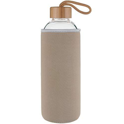 Ferexer Sports Trinkflasche Glas Wasserflasche mit Bambus Deckel 1 L 1000 m...
