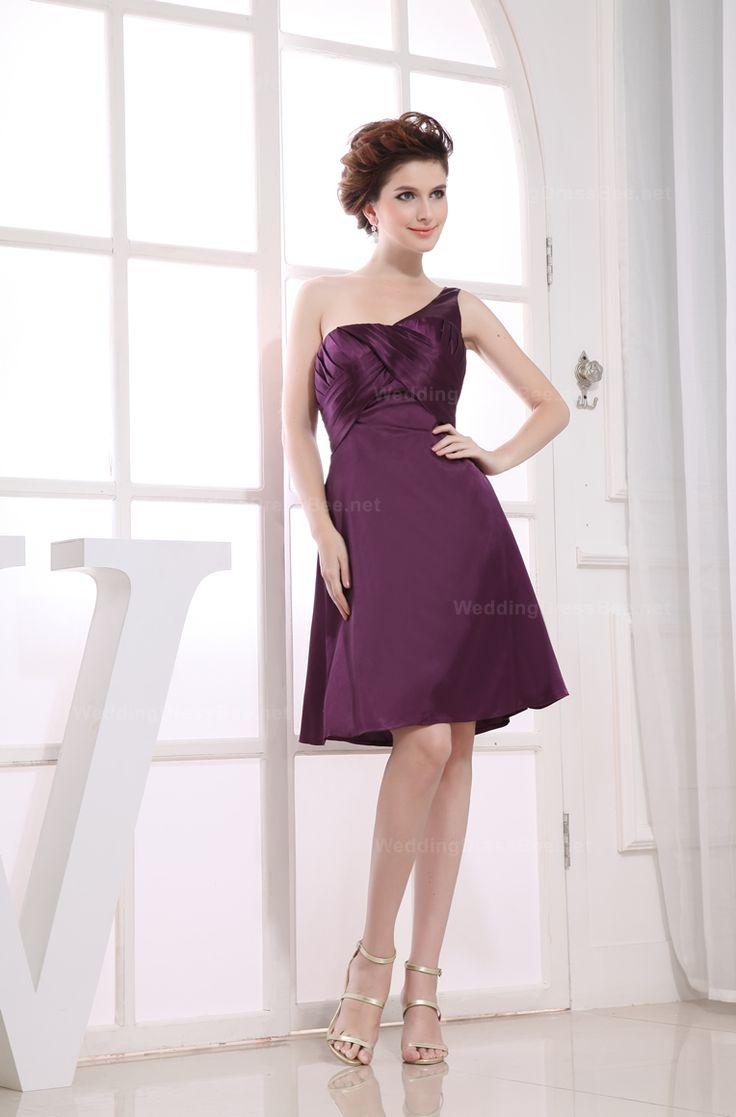 One shoulder A-line ruffle elegant dress for ladies