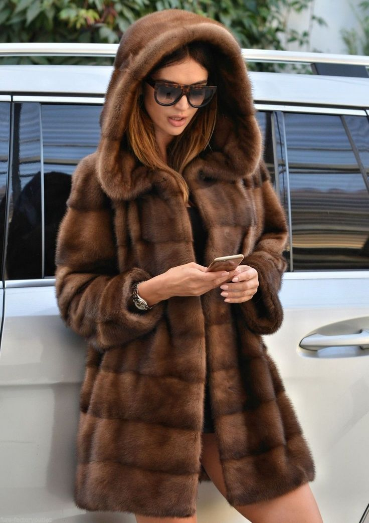 mink furs - new milano sable color royal saga mink fur coat hood