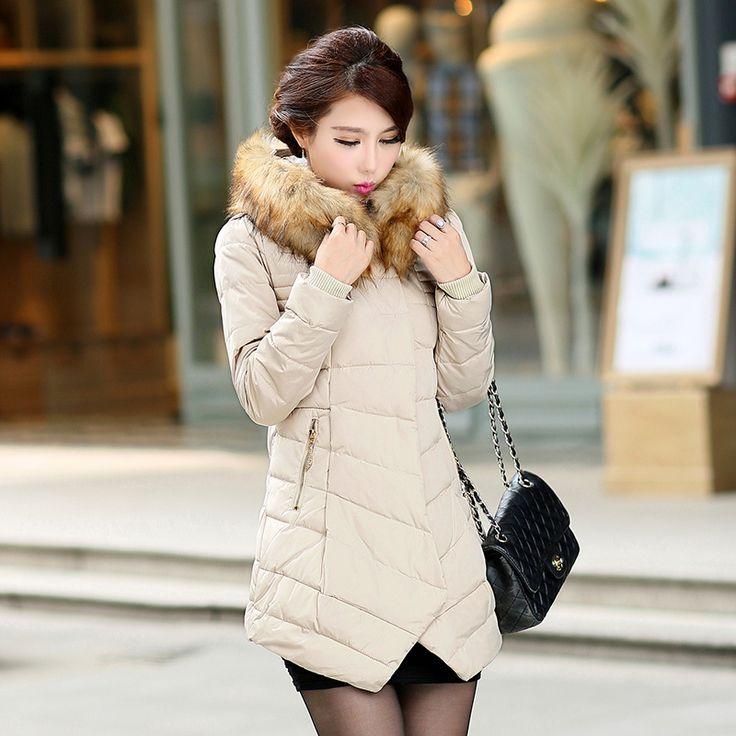 Куртка хлопок пуховик длинная сплошной, горячая зима женщины мех белый мягкий пальто дамы приталенный снег парки красный розовый черный верхняя одежда