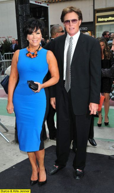 Kris Jenner with Bruce Jenner at an event. kris Jenner is sporting a fab vibrant blue tight dress and black pumps