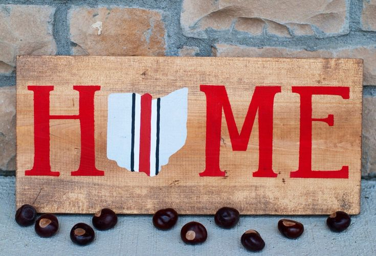 Ohio State Buckeye Stripes Home Wood Sign  Perfect gift for Buckeye fans!  https://www.etsy.com/listing/477137328/ohio-home-sign-ohio-state-sign-ohio-sign