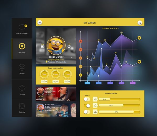 Yellow UI by Sergey Valiukh, via Behance
