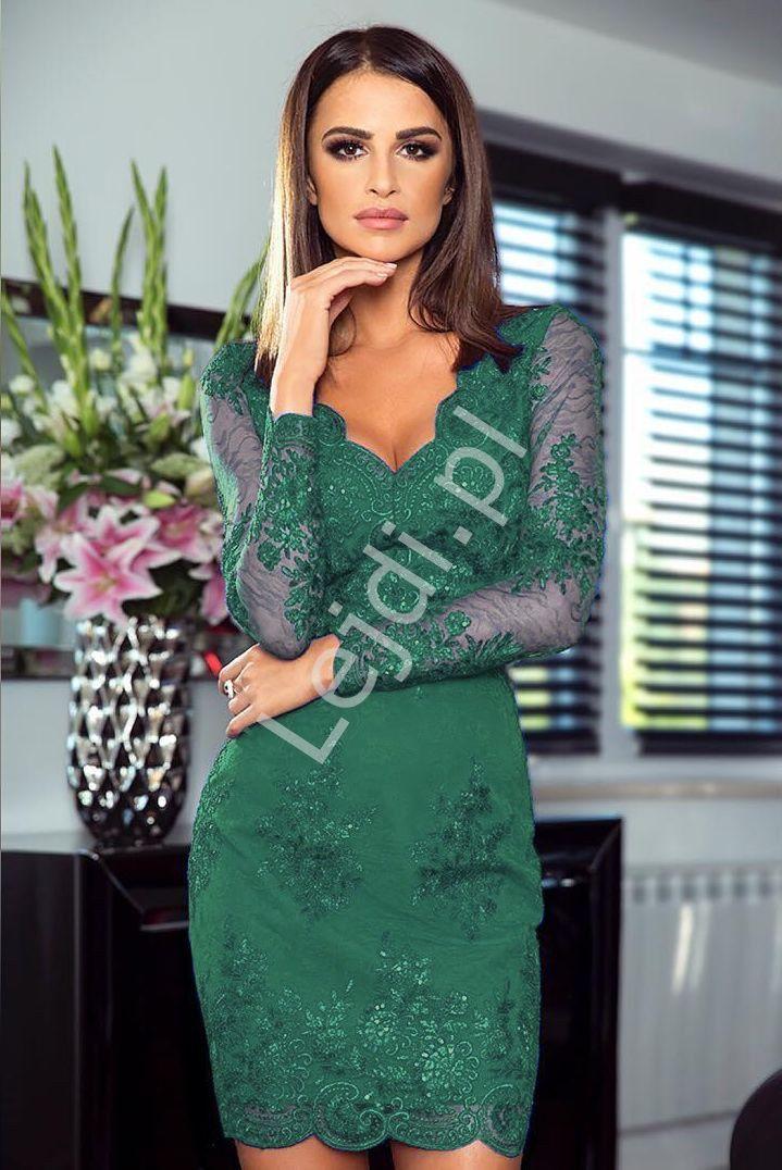 Sukienka Na Wesele Dla Mamy Panny Mlodej Mamy Pana Mlodego Koronkowa Butelkowa Zielen Diana Dresses Lace Dress Formal Dresses
