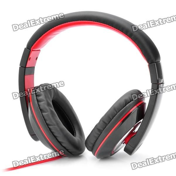 Kanen IP-780 On-Ear Stereo Headset with Microphone for Iphone - Black + Red (3.5mm Jack/145cm-Cable)