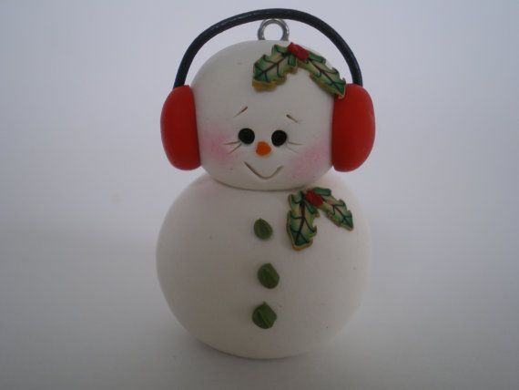 Tiny Snowman Ornament with Red Ear Muffs  Polymer por HelensClayArt, $6.95: