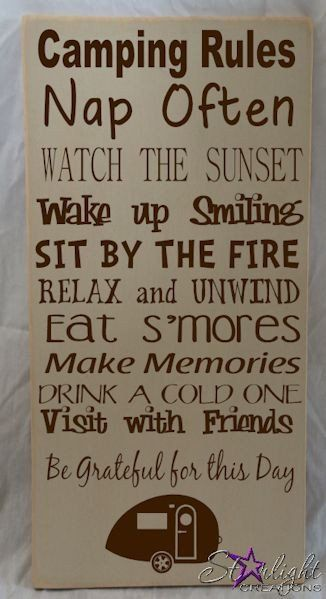 Camping Rules 2 - Wood Sign