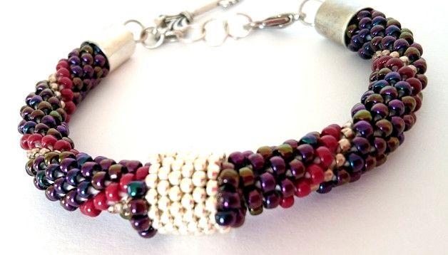 Bransoletka w stylu boho.  Bracelet, toho, rope, stitch, bead, beads,