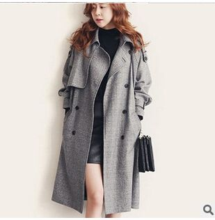 Outono high-end britânico roupa plus size clothing lazer trespassado do revestimento das mulheres da moda casaco longo solto trincheira feminino